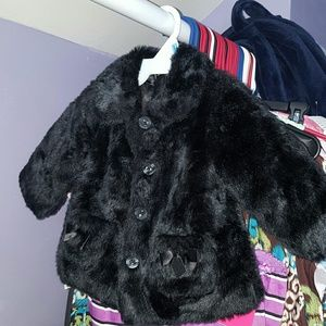 Koala Baby Boutique Faux Fur Coat 6-9mo Black
